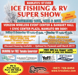 Ice fishing and rv super show kroubetz lakeside campers for Mn ice fishing show